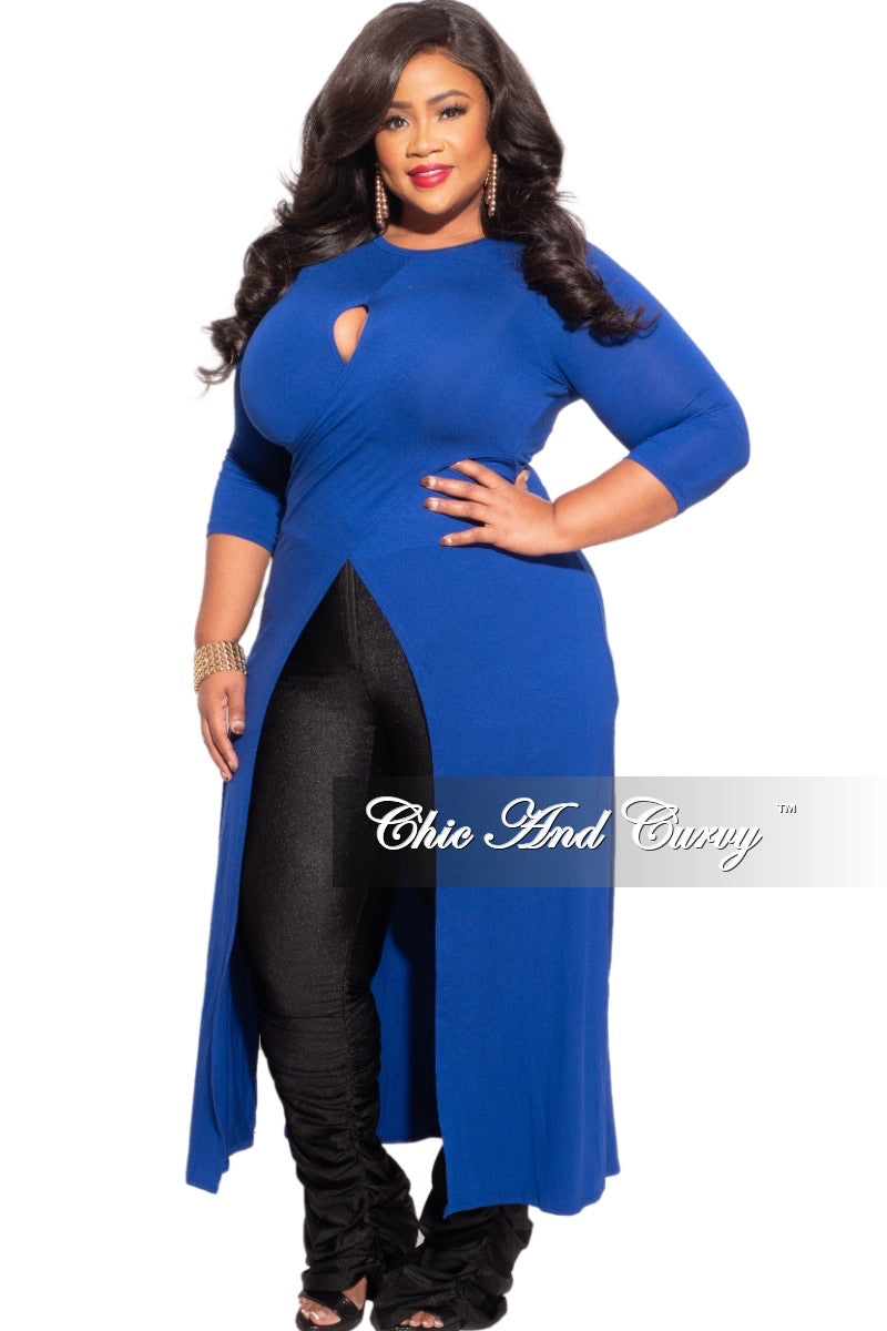 *Final Sale Plus Size Long Tunic Top with Keyhole in Royal Blue
