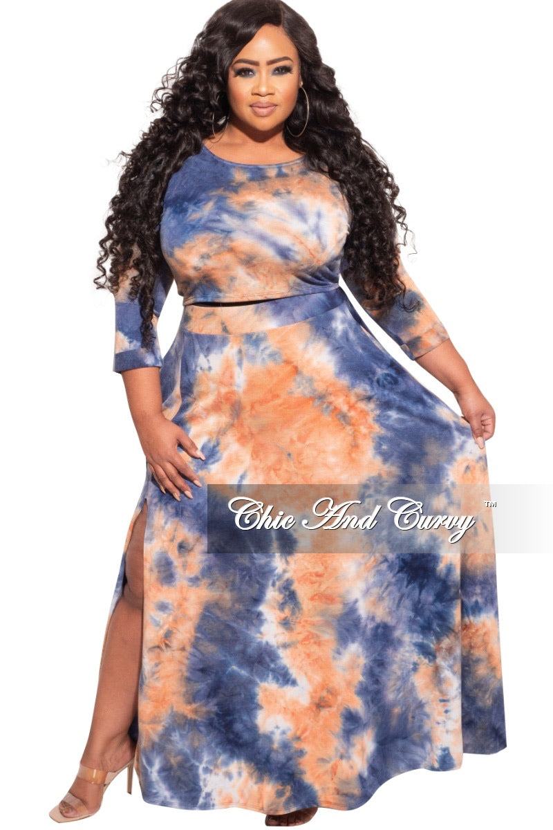 *Final Sale Plus Size 2-Pc Maxi Skirt Set with Round Neck in Orange/Blue Tie Dye