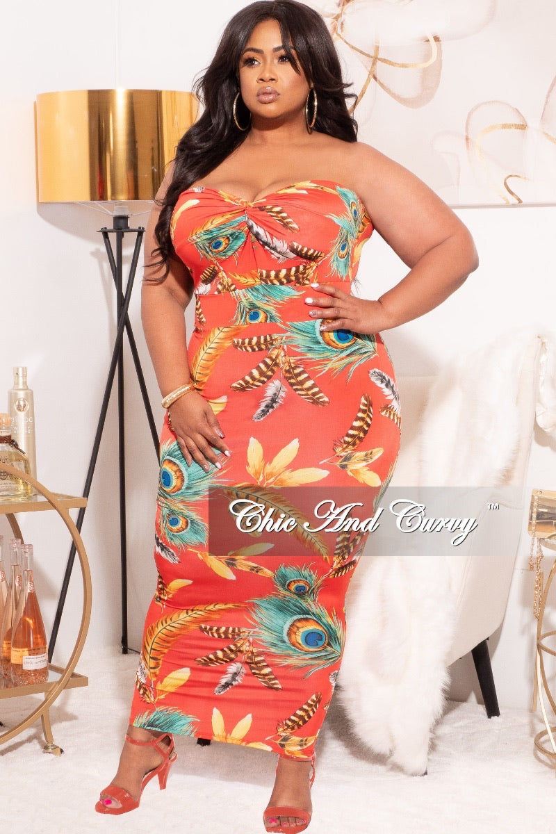 Final Sale Plus Size Strapless BodyCon Dress in Red Feather Print Love