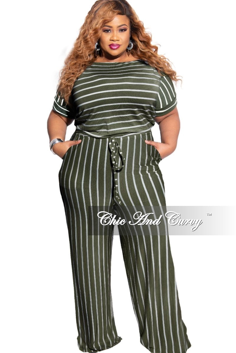 New Plus Size Tie Pocket Jumpsuit in Army Green with Ivory Stripes
