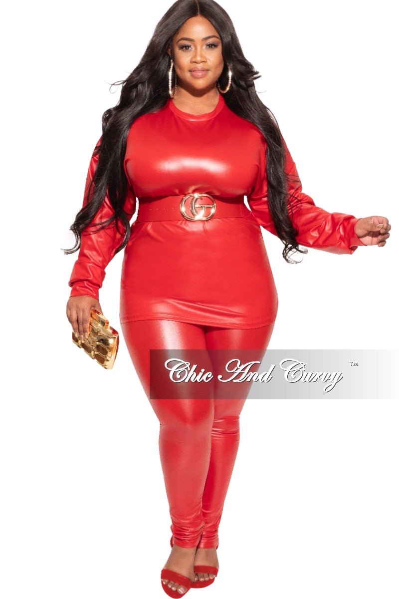 Final Sale Plus Size 2-pc Faux Leather Set in Red