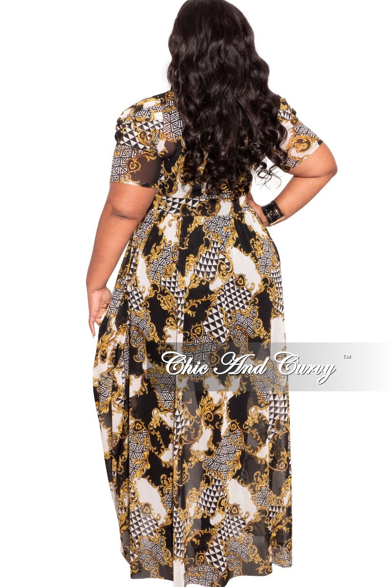 *Final Sale Plus Size Mesh Top with Train in Black White and Gold Print