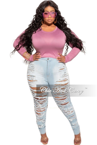 New Plus Size Long Sleeve Button Up Top in Denim