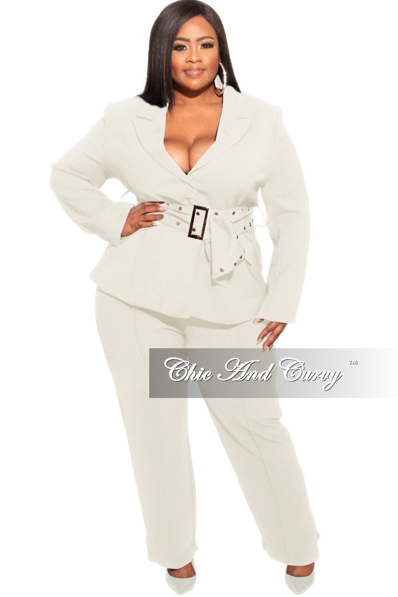 Final Plus Size Pants Suit in Ivory with Gold Embellishments
