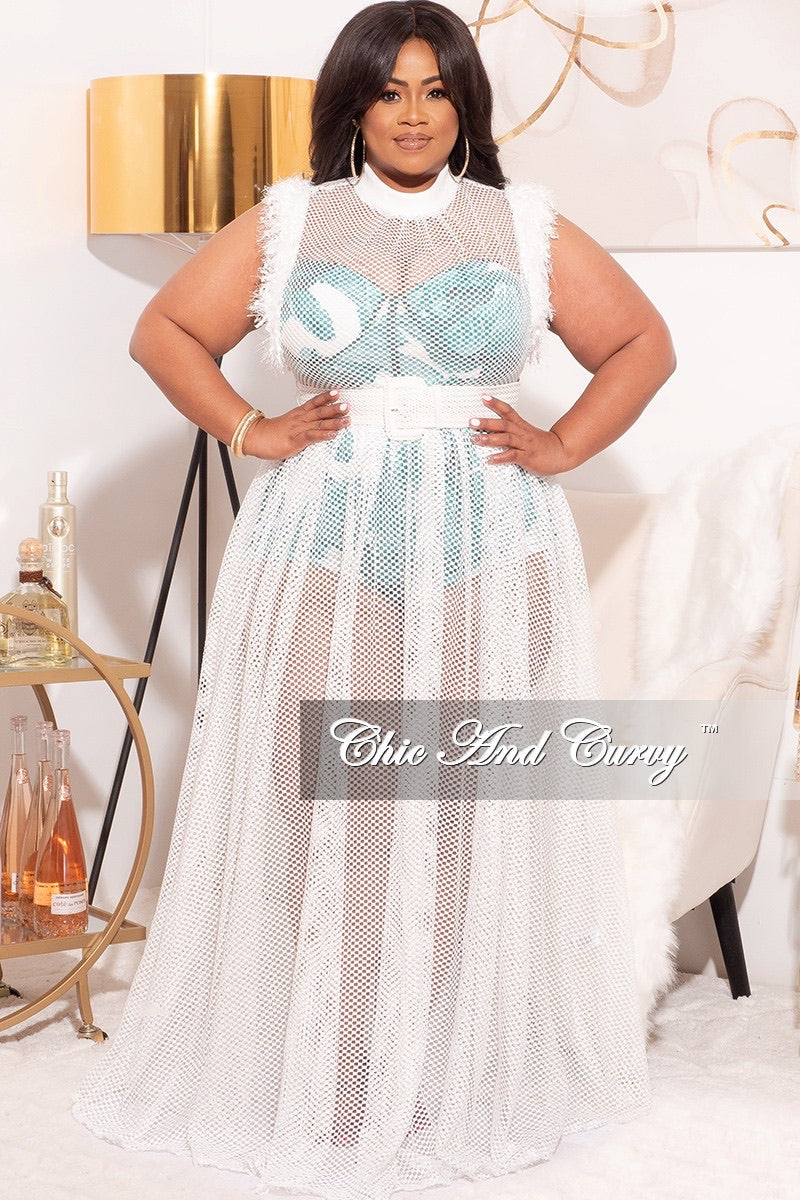 Final Sale Plus Size 2pc White Net Dress with Teal Print Romper