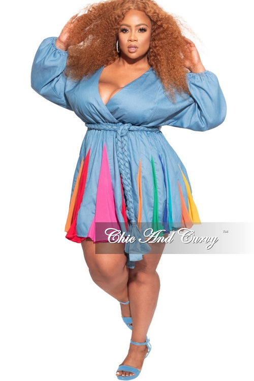 *Final Sale Plus Size BabyDoll Dress in Chambray with Colorful Insets