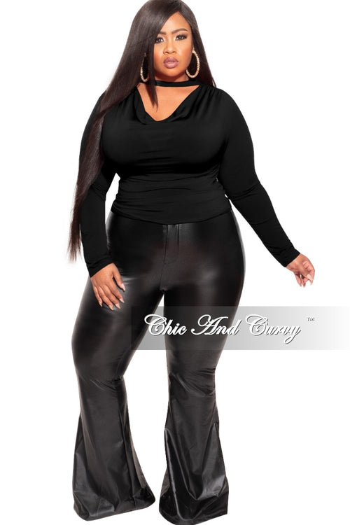 Final Sale Plus Size Draping Top in Black