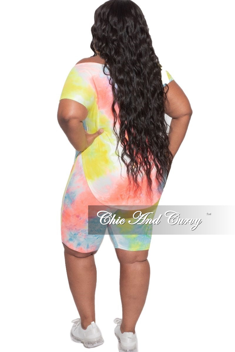New Plus Size 2pc (Off the Shoulder Top & Bermuda Short) Set in Neon Yellow Pink & Blue Tie Dye