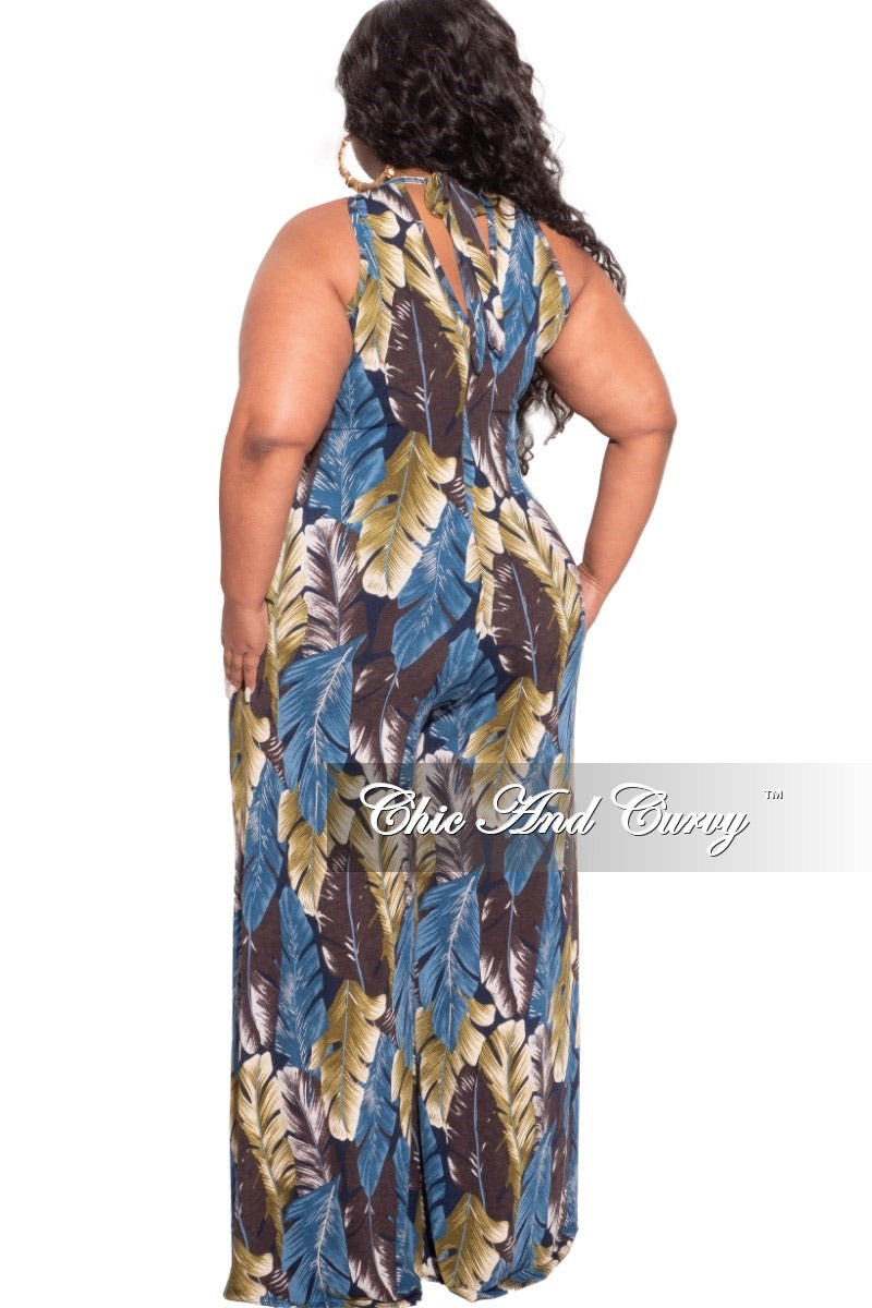 *Final Sale Plus Size Halter Jumpsuit in Multi-Color Palm Print Love