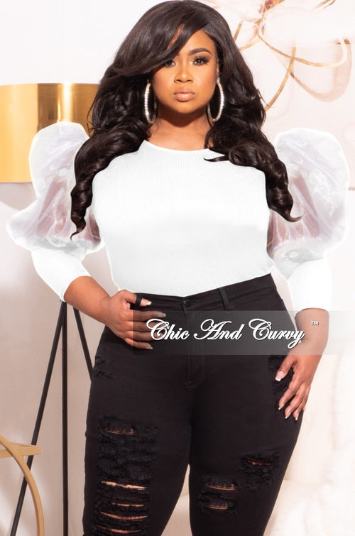 Final Sale Plus Size Ribbed Top with Organza Puffy Sleeves in White