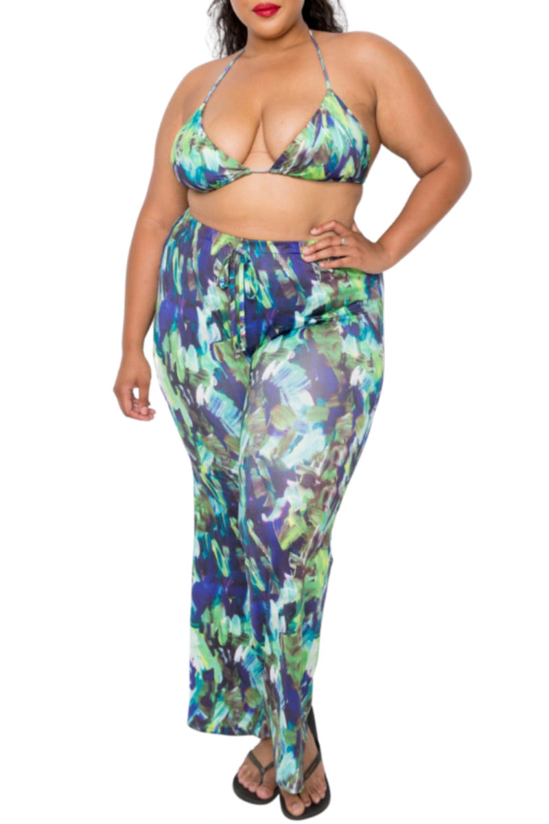 *Final Sale Plus Size 4-pc PlaySuit Set - Duster, Pants, Top, Bottoms