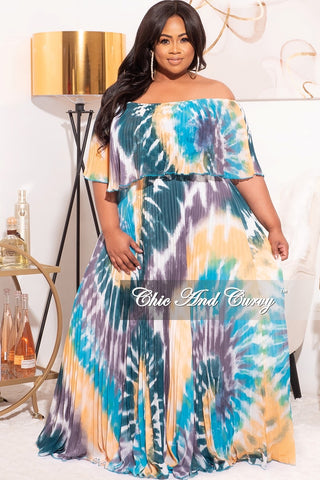 Final Sale Plus Size 2-Pc Poolside Playsuit (Off The Shoulder Crop Top & High Waist Bottoms) in Pink Multi-Colors