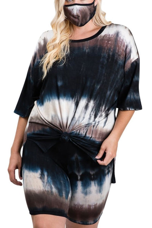 New Plus Size 3-Piece (Mask, T-Shirt & Bermuda Short) Set in Brown & Navy Tie Dye Print