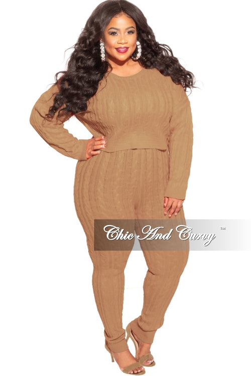 Final Sale Plus Size 2-Piece Sweater Pants Set in Camel