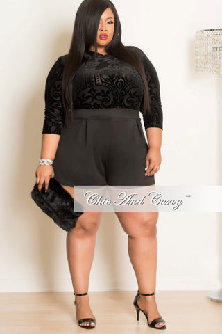 New Plus Size Mesh 3/4 Sleeve Romper in Black Velour Burnout