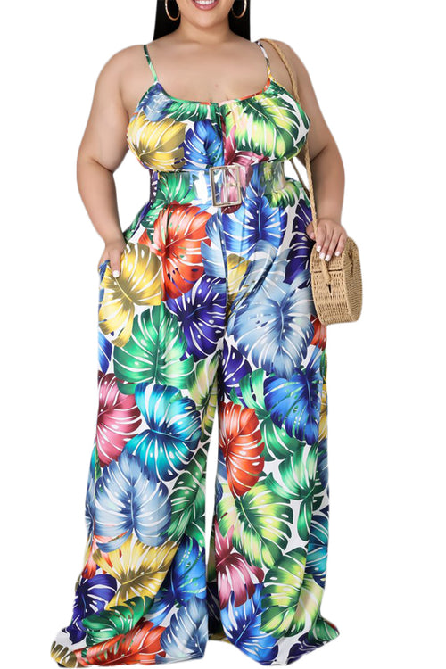 Final Sale Plus Size Jumpsuit with Spaghetti Straps in Multi-Color Print