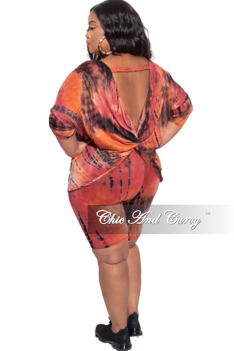 New Plus Size 2-Piece (Oversize Top & Bermuda Short) Set in Red, Orange, & Brown Tie Dye Print