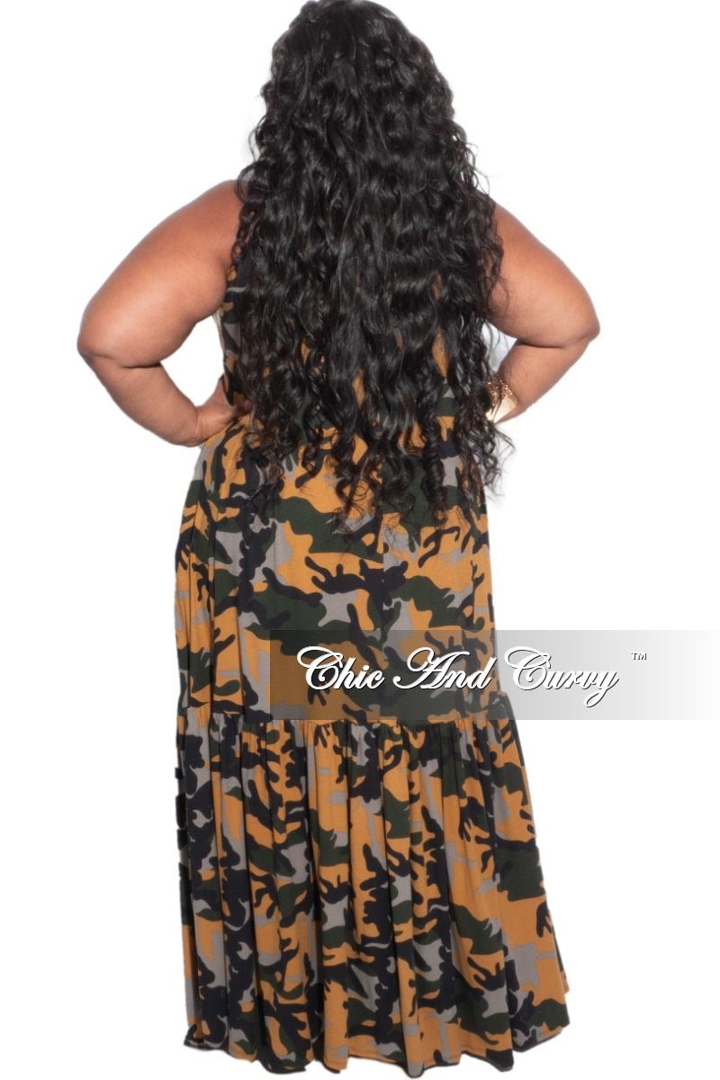 New Plus Size Spaghetti Strap Maxi Dress in Mustard Camouflage Print