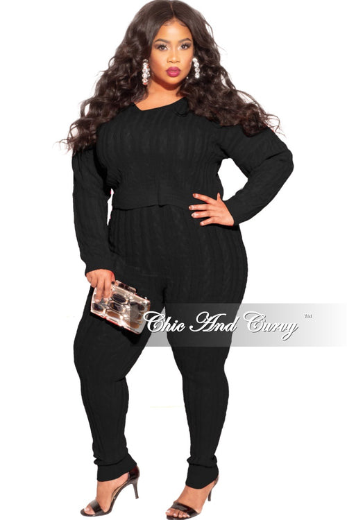 Final Sale Plus Size 2-Piece Sweater Pants Set in Black