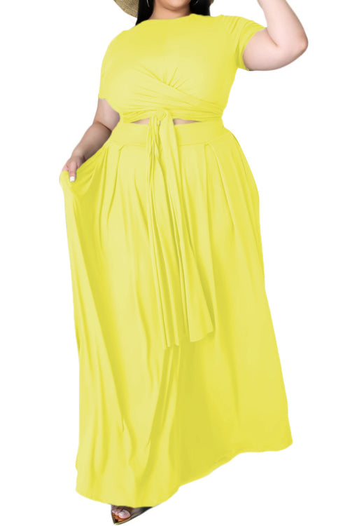 Final Sale Size 2pc Tie Top Maxi Skirt Set in Yellow
