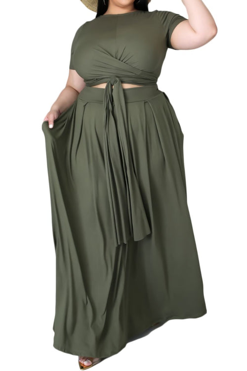 Final Sale Size 2pc Tie Top Maxi Skirt Set in Olive