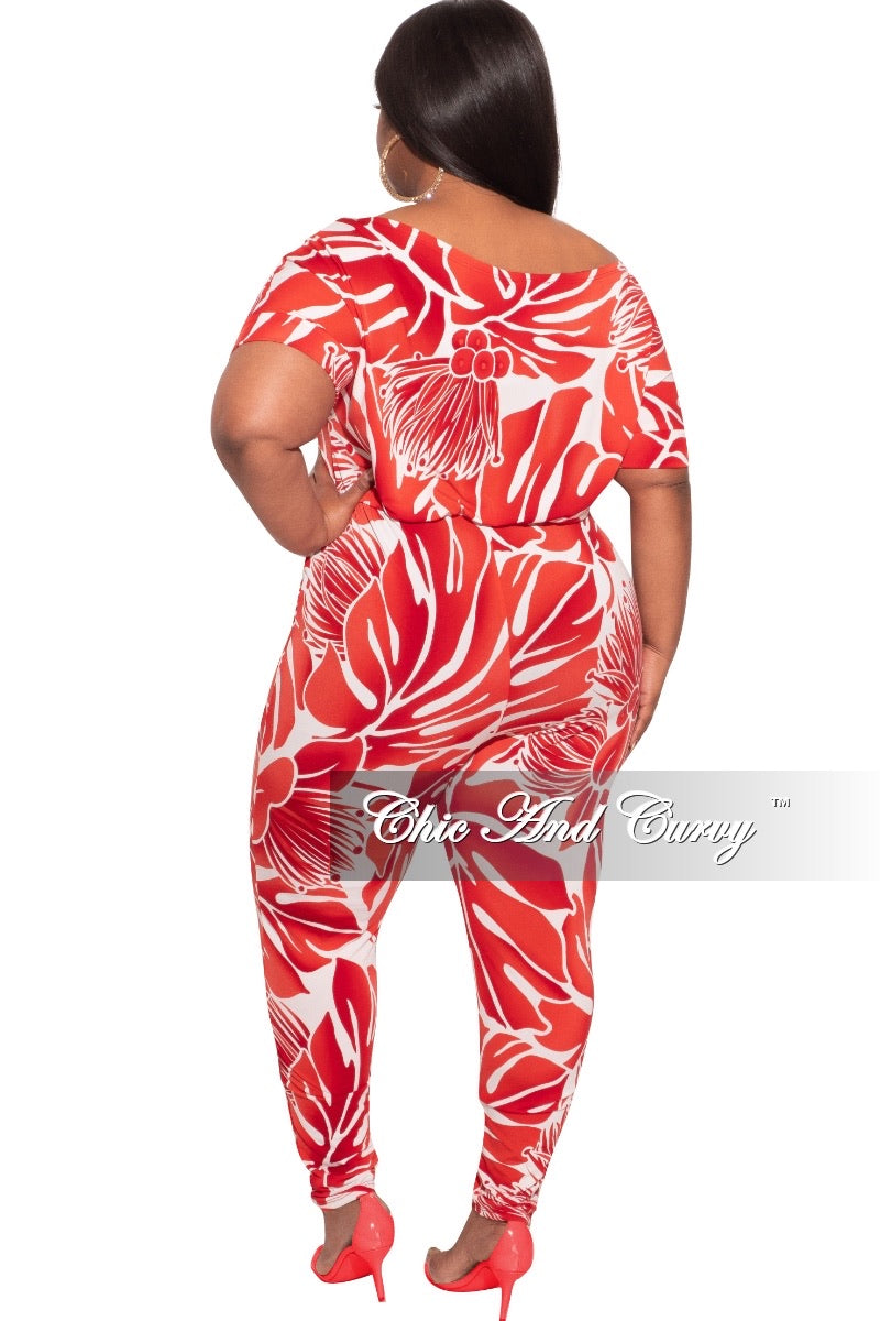 *Final Sale Plus Size Jumpsuit Off the shoulders with Tie in Red & White Print