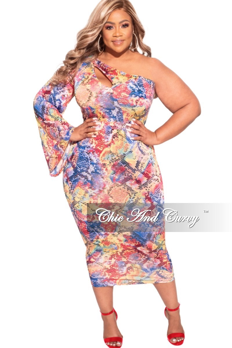 Final Sale Plus Size One Bell Sleeve BodyCon Dress in Multi-Color Snake Print
