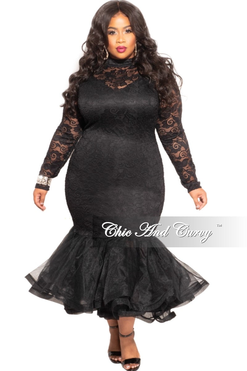 Final Sale Plus Size Midi Length Lace Mermaid Gown with Tulle in Black