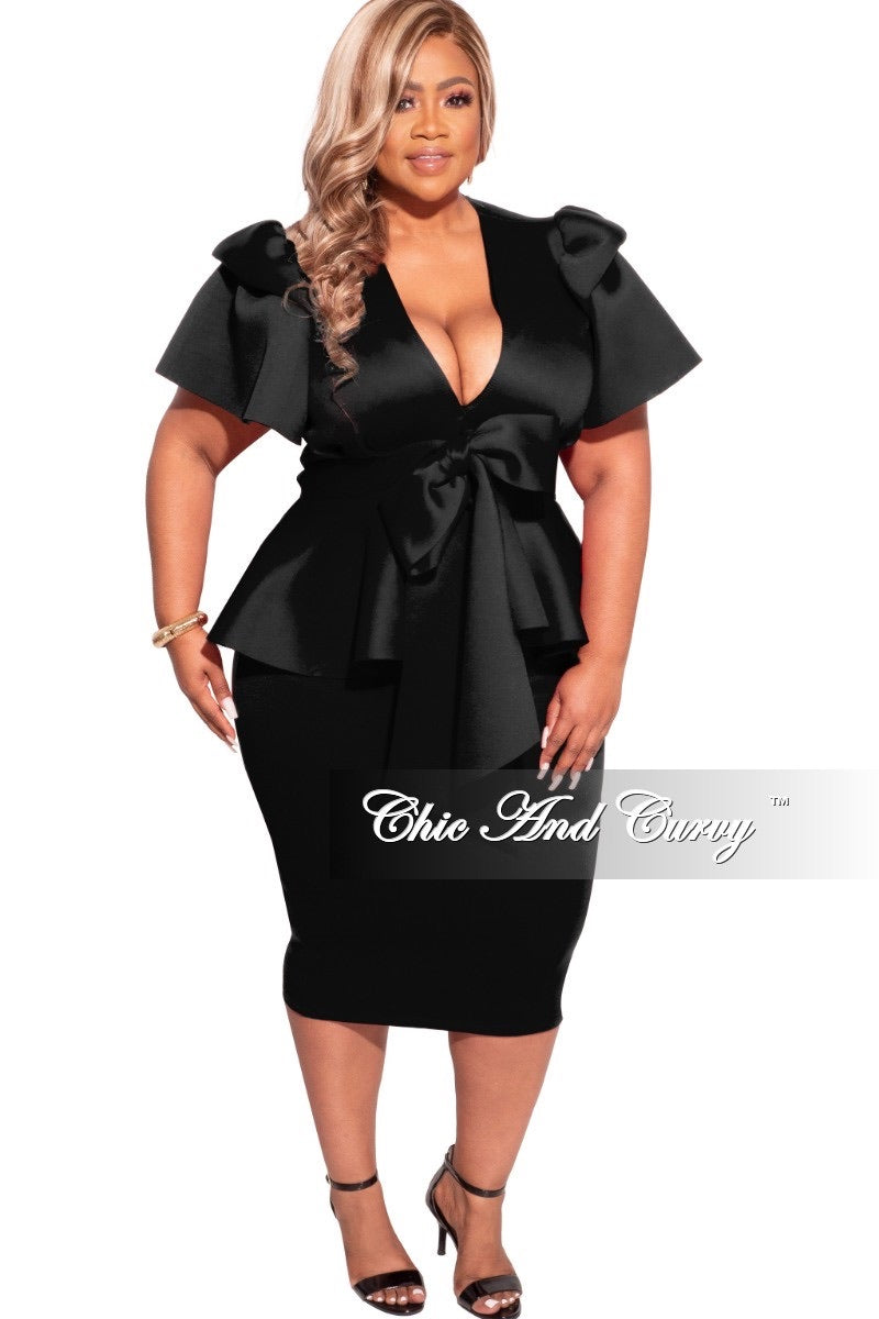 Final Sale Plus Size 2-pc Scuba Skirt Set in Black