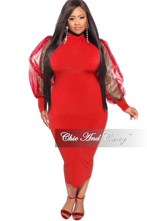 Final Sale Plus Size Sheer Organza Puffed Sleeve Bodycon Dress in Red