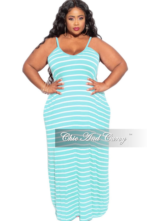 Final Sale Plus Size Spaghetti Strap Maxi Dress in Ash Mint & Ivory