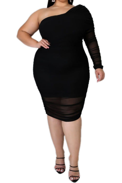 New Plus Size One Shoulder Dress In Black Sheer Overlay