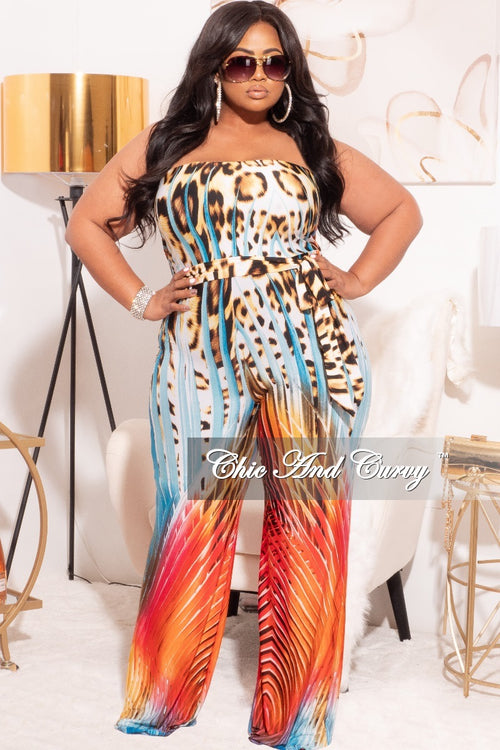 Final Sale Plus Size Strapless Jumpsuit in Multi-Color Animal Print