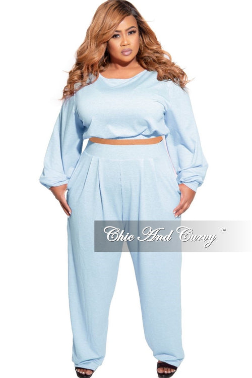 New Plus Size Exclusive 2-Piece Set Crop Top and High Waist Pant Set in Blue & White French Terry Blend