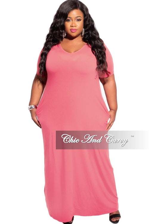 New Plus Size Short Sleeve Maxi Pocket Dress in Pink