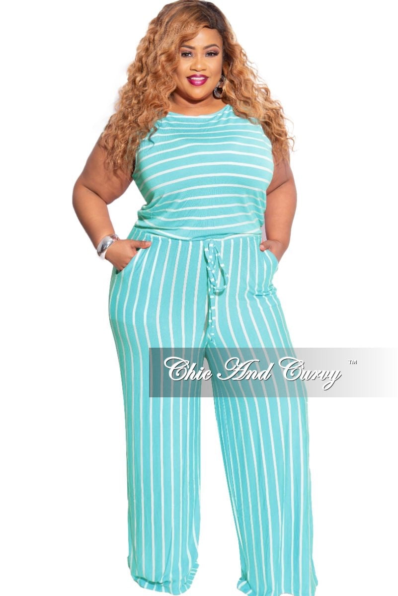 New Plus Size Sleeveless Pocket Tie Jumpsuit in Mint with Ivory Stripes