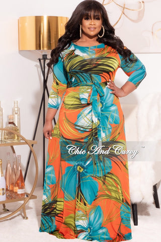 Final Sale Plus Size 2-Piece (Faux Wrap Bodysuit & Bermuda Short) Set in Orange/Green Multi-Color Print