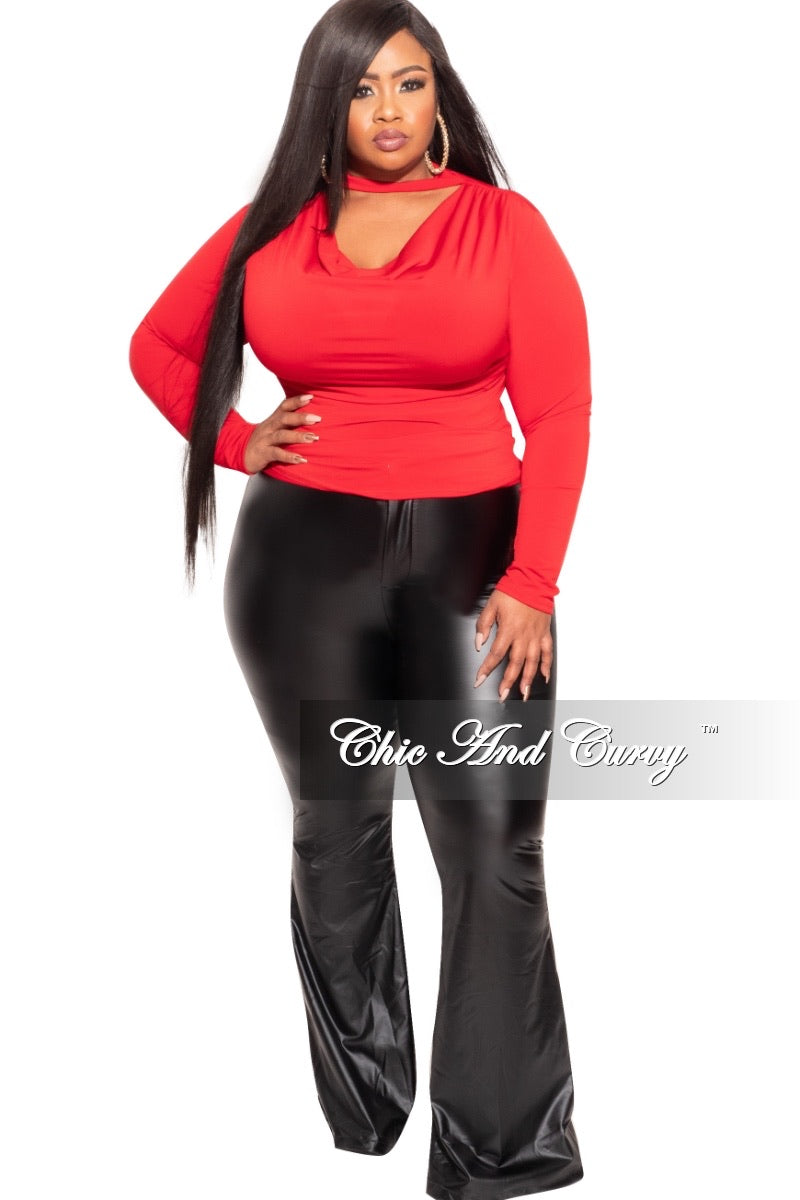 Final Sale Plus Size Draping Top in Red