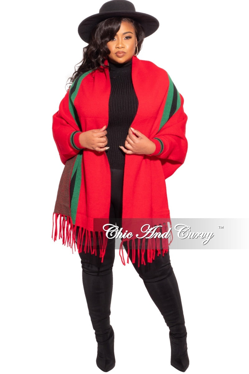 Striped Poncho Shaw One Size - Red, Navy, Ivory, or Tan