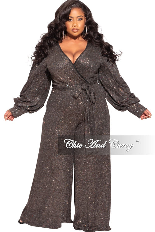 Final Sale Plus Size Faux Wrap Tie Jumpsuit in Glitter Fabric