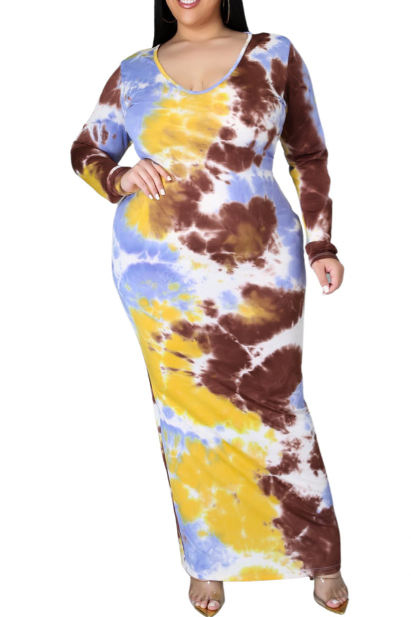 Final Sale Plus Size BodyCon in Lavender, Yellow & Brown Print