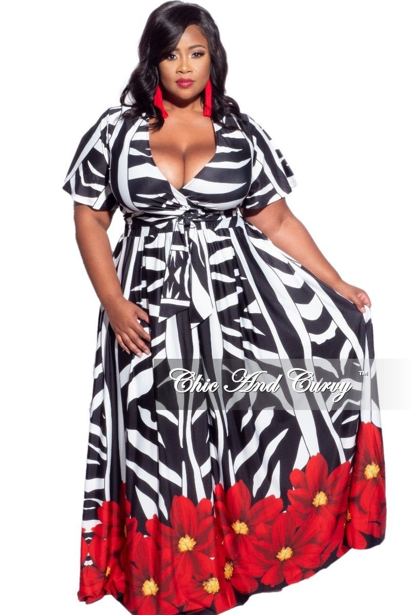 Final Sale Plus Size 2-Piece (Faux Wrap Crop Tie Top and Skirt) Set in Black, White, & Red Floral Print