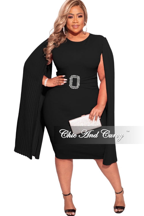 Final Sale Plus Size Dress with Cape Sleeves and Attached Bling Belt in Black