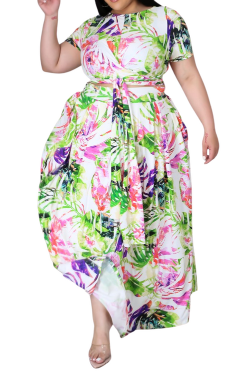 Final Sale Size 2pc Tie Top Maxi Skirt Set in Lime Palm Print