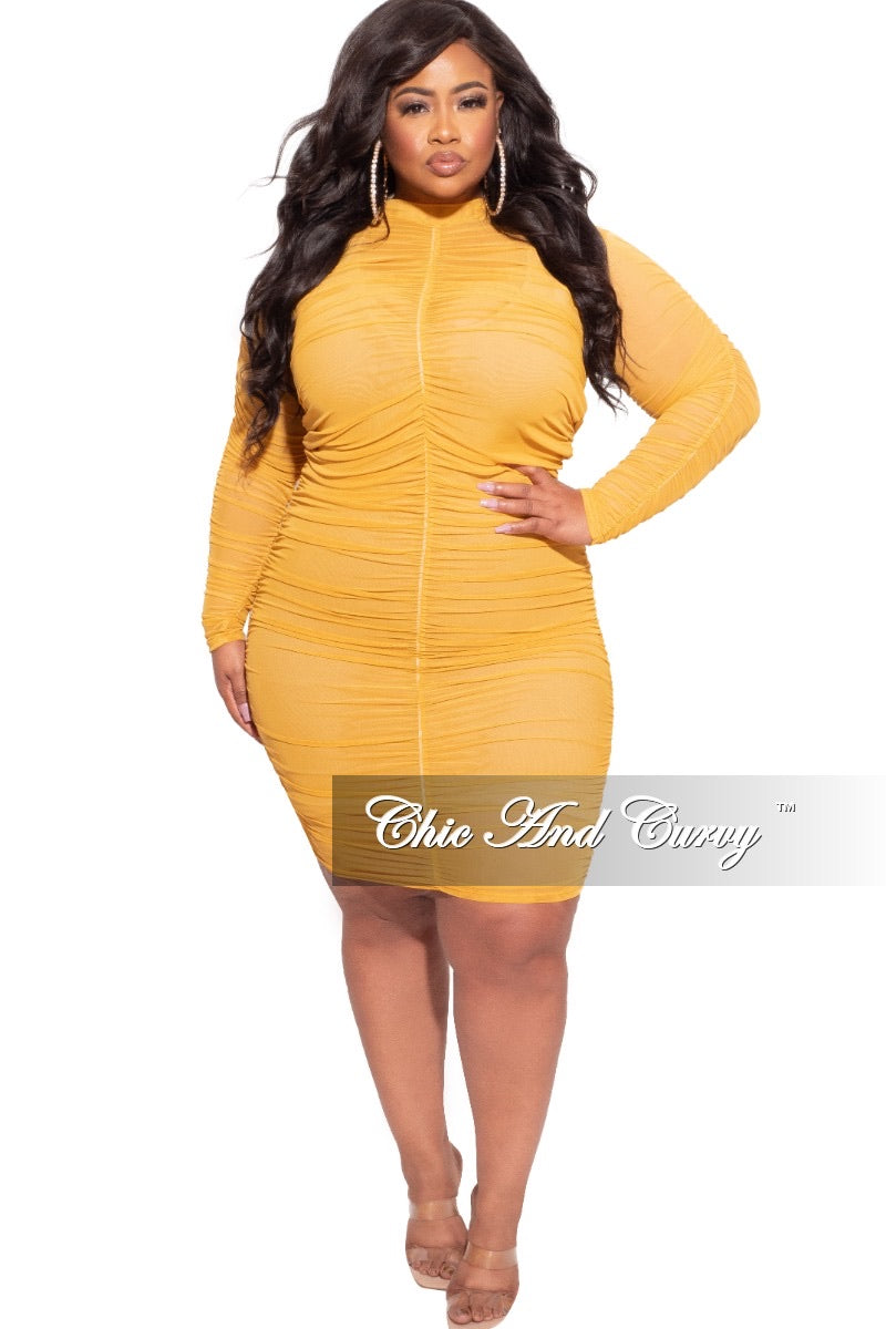 Final Sale Plus Size BodyCon Dress/Coverup with Ruched Sides in Mustard
