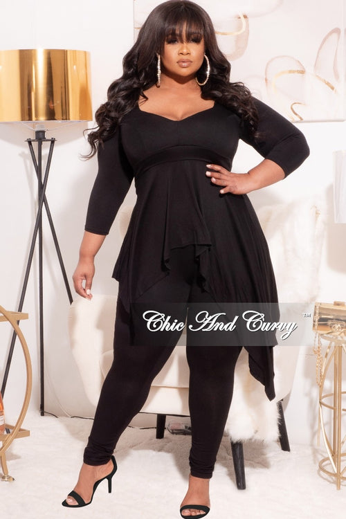 Final Sale Plus Size 2-Pc Set with Hi/Low Top and Pants in Black