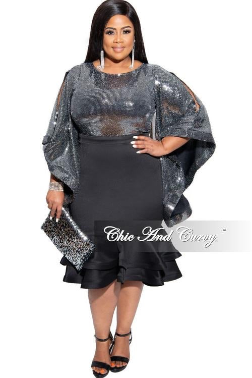 Final Sale Plus Size Sequin Bell Sleeve Top in Silver