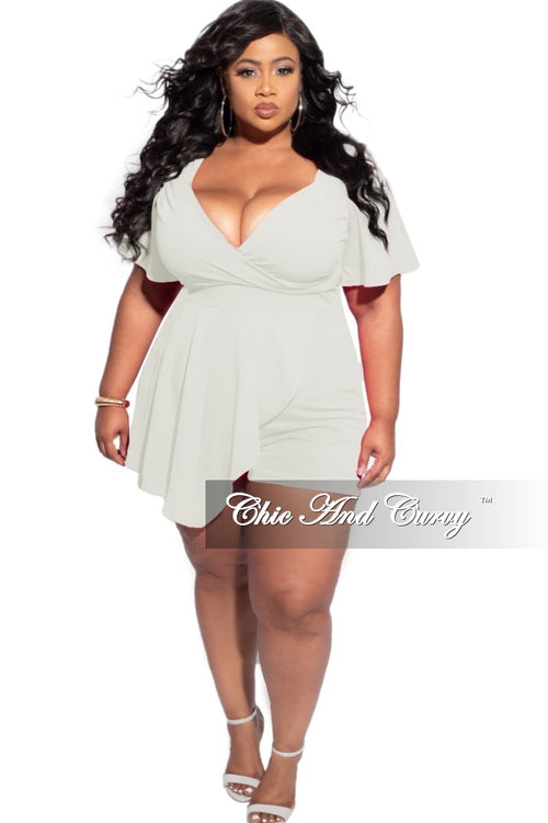 Final Sale Plus Size Romper with Front Overlay in Ivory