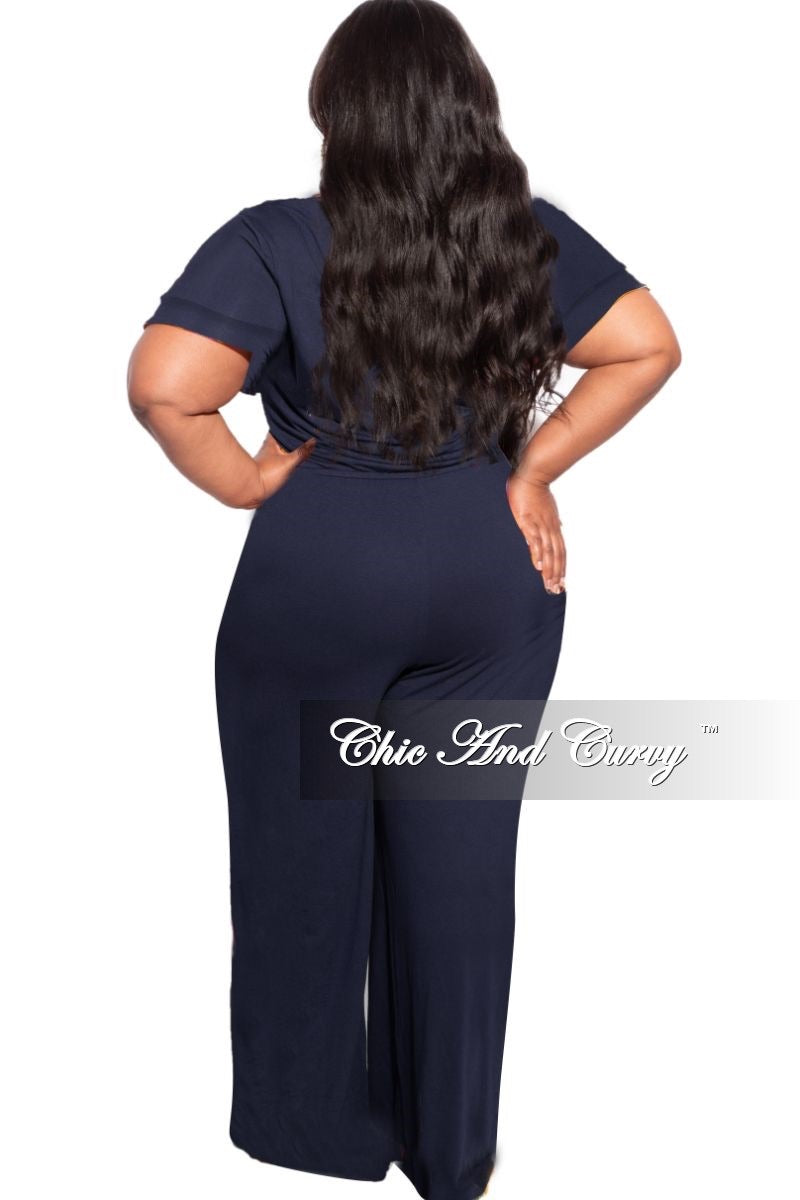 New Plus Size Faux Wrap Tie Wide Leg Jumpsuit in Navy
