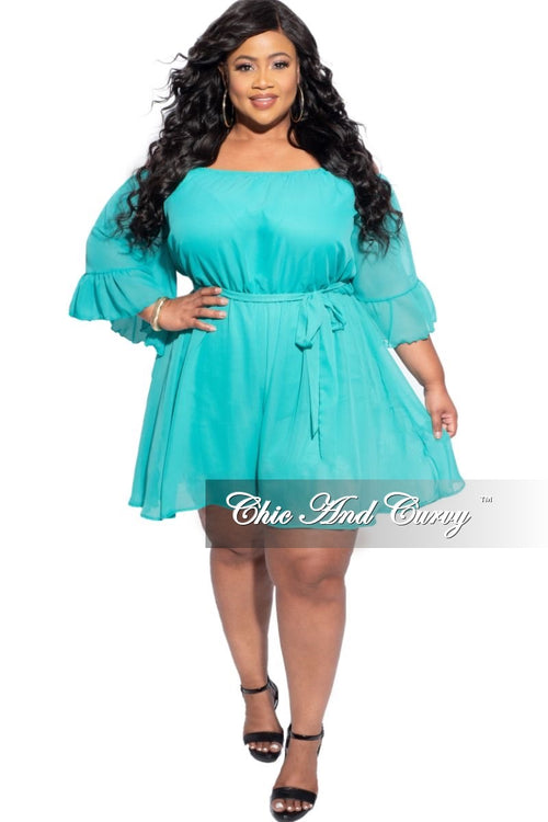 New Plus Size Chiffon Romper in Mint